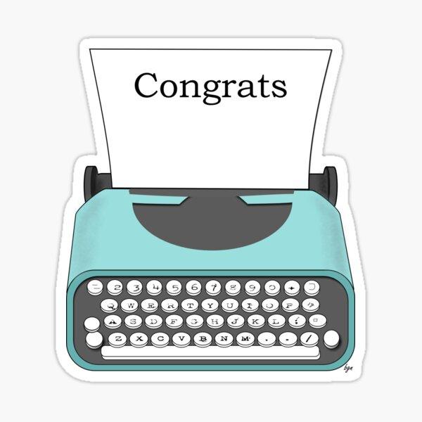 Congrats Vintage Typewriter Notes Sticker