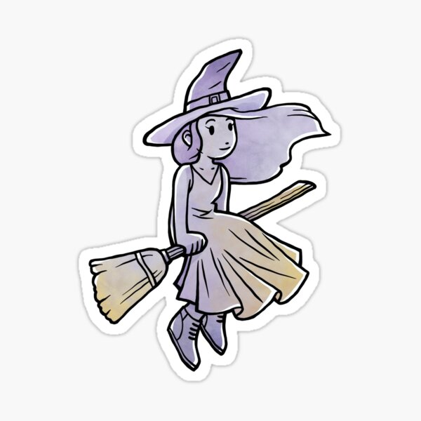 Witch on Broomstick Sticker