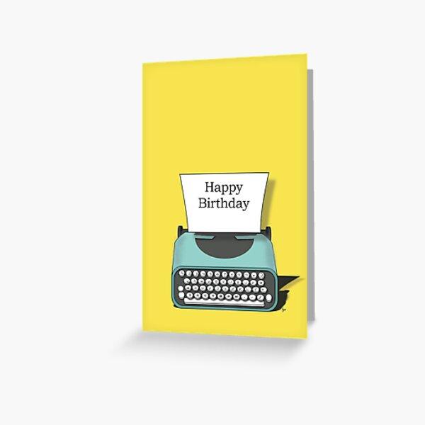 Happy Birthday Vintage Typewriter Note Greeting Card