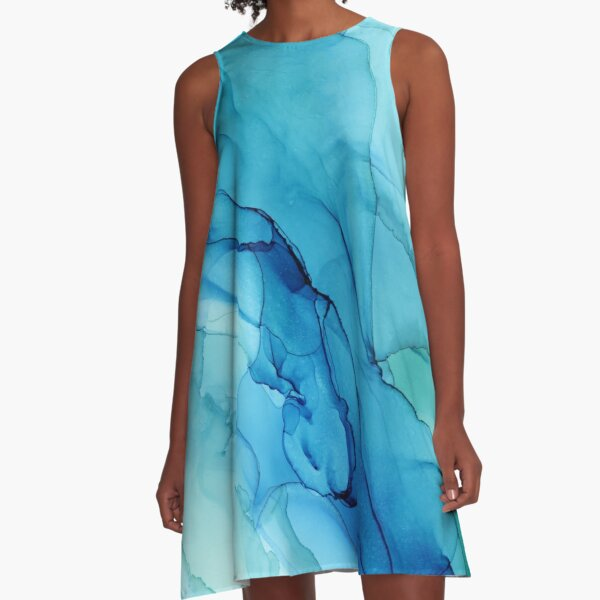 Blue Emerald Water Ombre Abstract Ink A-Line Dress