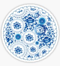Vintage pattern with blue flowers and leaves  Sticker