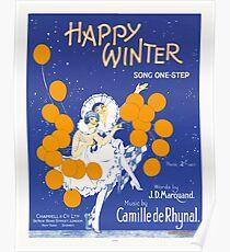 HAPPY WINTER (vintage illustartion)  Poster