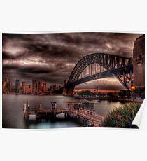Sunset Sydney Harbour Bridge- VIVID Festival  Poster