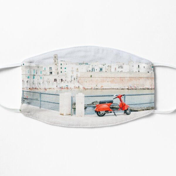 Italy - Red Vespa Monopoli Puglia Italy Mask Flat Mask