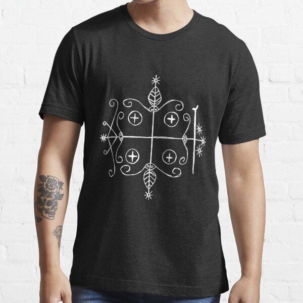 Papa Legba Voodoo Veve (white) Essential T-Shirt