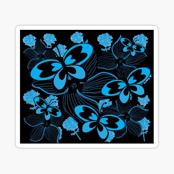 Blue Butterflies, Blue Flowers Sticker