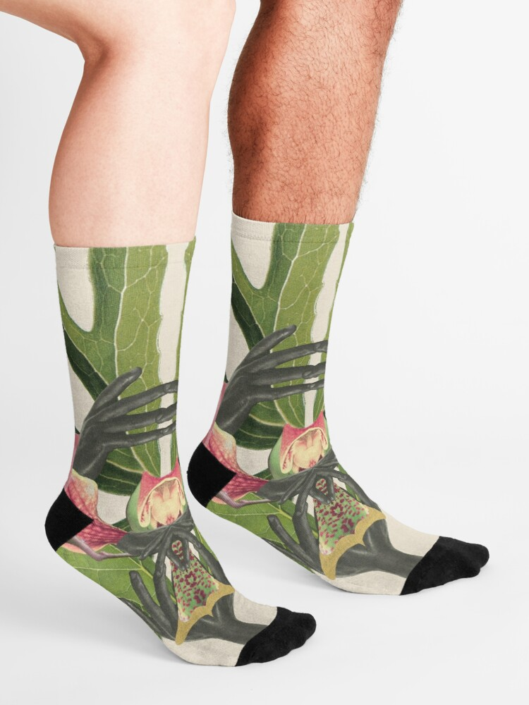 Alternate view of Flower of Birth - collage art, nature Socks