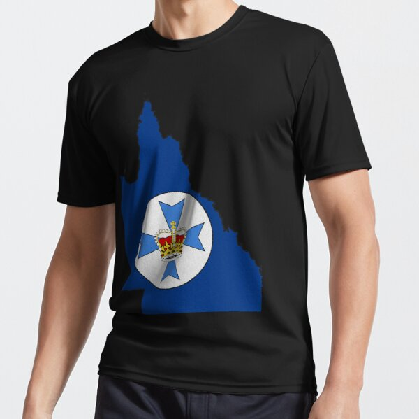 Queensland Australia Map With Flag Active T-Shirt