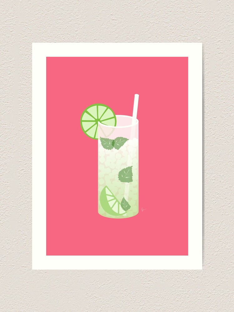 Mojito Rum Cocktail Art Print By Carriedesigns Redbubble
