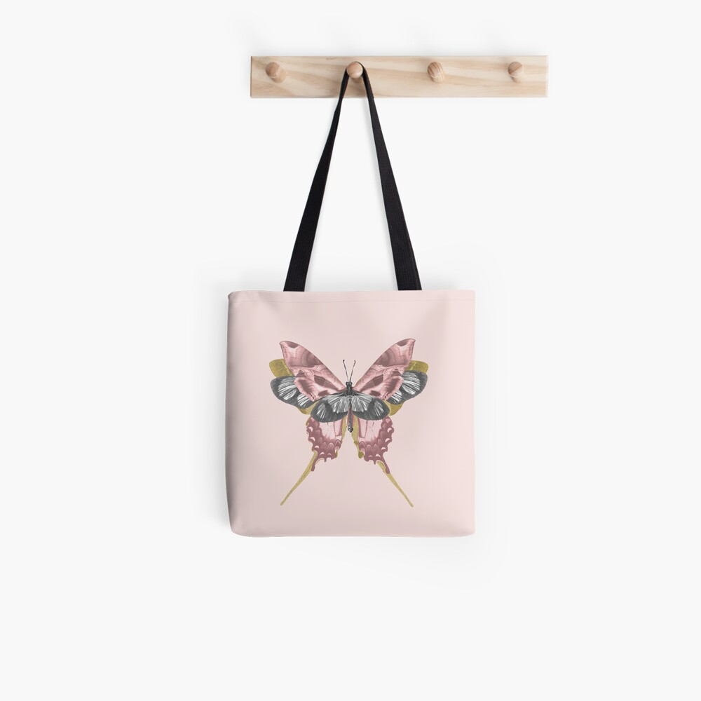 Pink Butterfly - nature, collage Tote Bag