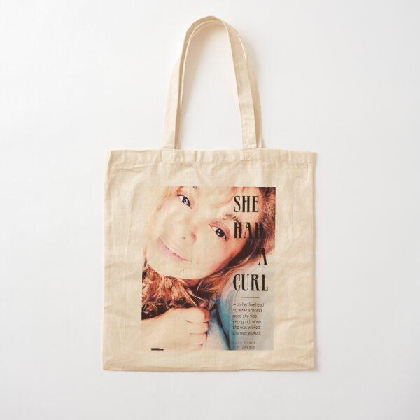Miss Pinup : She Had A Curl Cotton Tote Bag