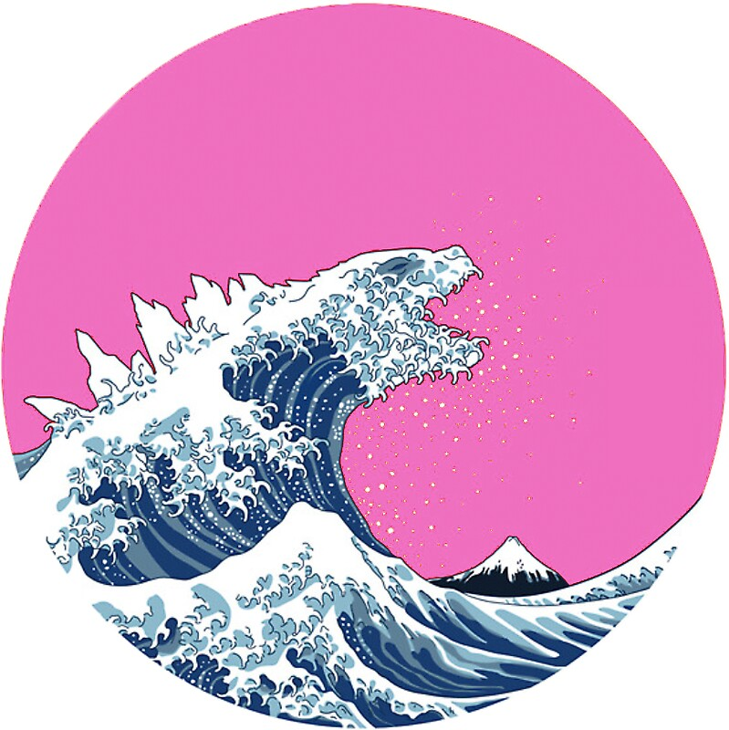Quot Pink Kanagawa Wave Quot Stickers By Thelazyhuman Redbubble