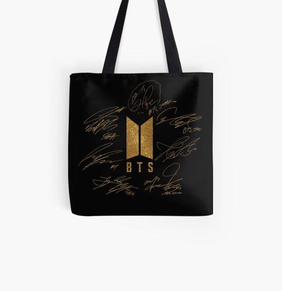 BTS - Logo avec nouvelles signatures 2020 (or) Tote bag doublé