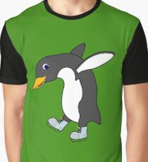 Christmas Penguin with Blue & Silver Ice Skates Graphic T-Shirt