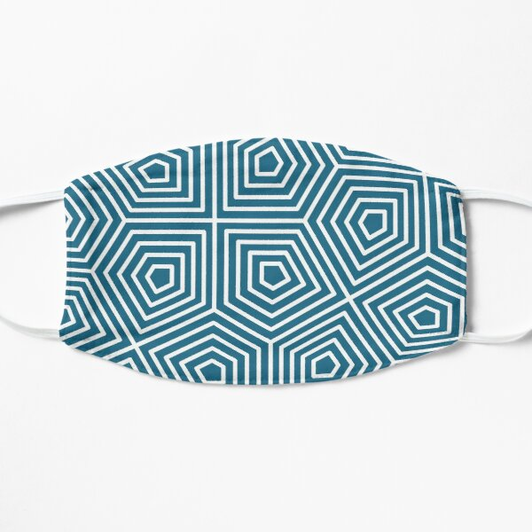 Cairo Pentagonal Tiling Blue White Flat Mask