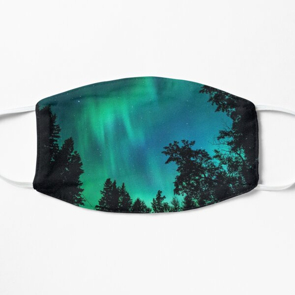 Aurora Silhouetted by Trees Flat Mask