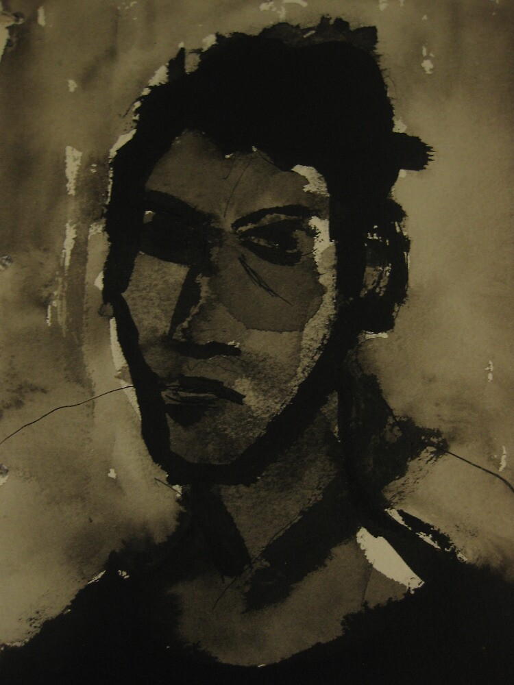 self-portrait in ink by Alfred Gillespie
