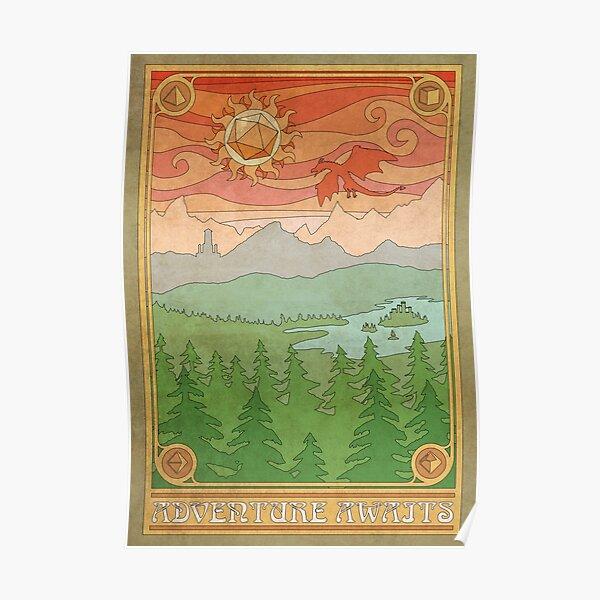 Adventure Awaits Fantasy Art Nouveau Poster Poster
