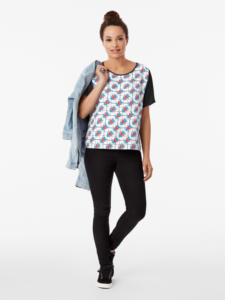 Alternate view of Modern Geometric Pattern - Colorful Triangles Chiffon Top