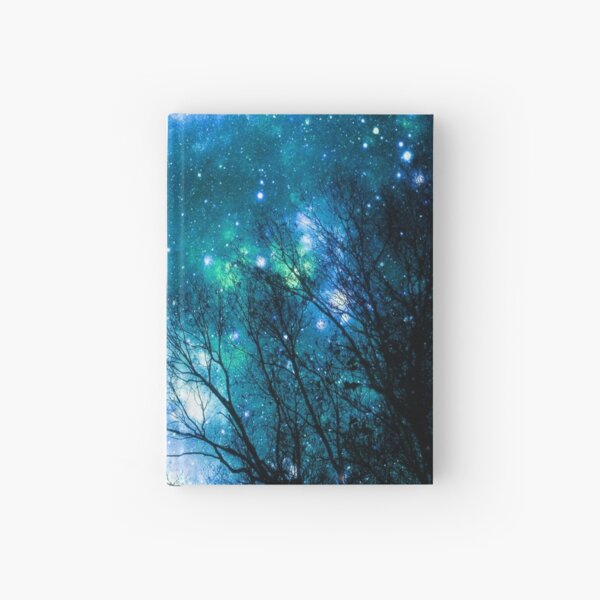 Black Trees Blue Teal Space Hardcover Journal