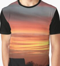 Barn Silhouette on a Layered Sunset Graphic T-Shirt