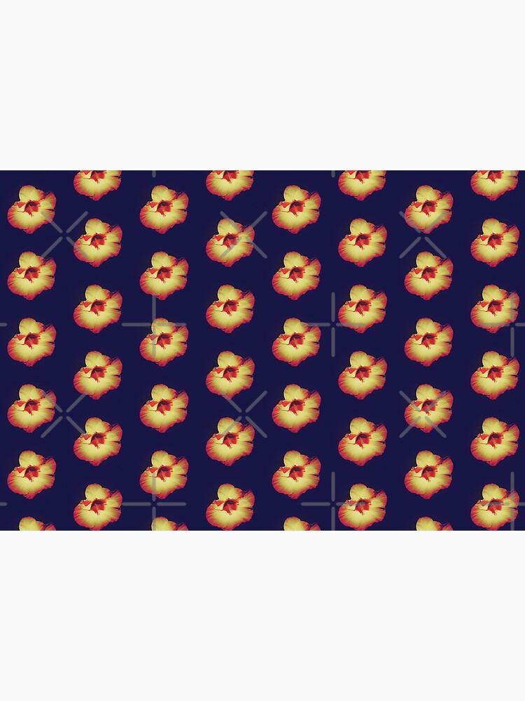 Floral Gift - Single Hibiscus Black Orange and Beige Design by OneDayArt