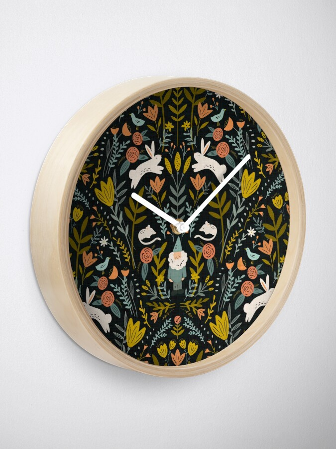 Alternate view of Damask gnome Clock