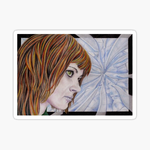 Fracture: Original colour pencil drawing by Dean Sidwell Sticker