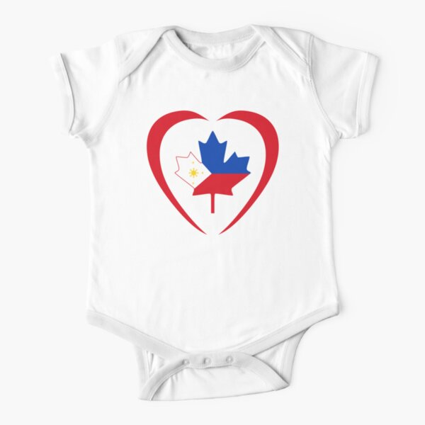 Filipino Canadian Multinational Patriot Flag Series (Heart) Short Sleeve Baby One-Piece