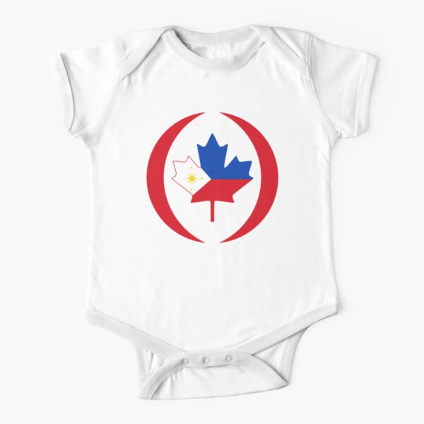 Filipino Canadian Multinational Patriot Flag Series Short Sleeve Baby One-Piece