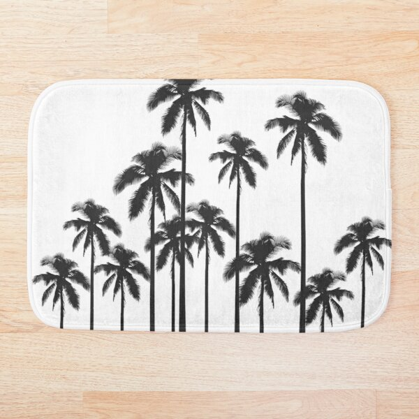 Black and White Exotic Tropical Palm Trees Bath Mat