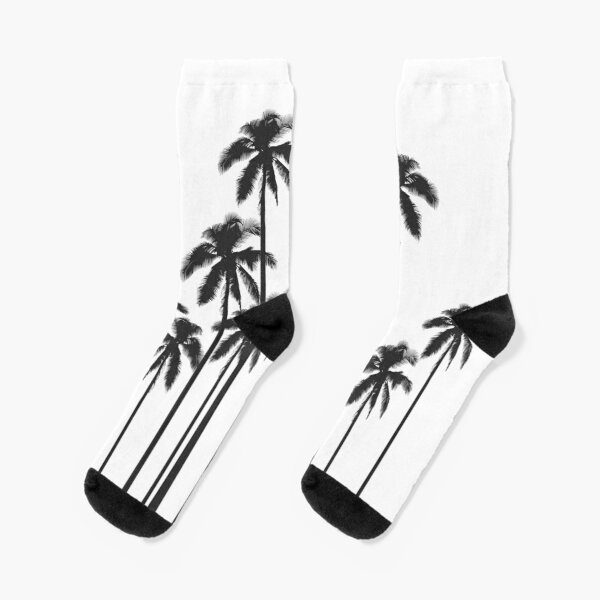 Black and White Exotic Tropical Palm Trees Socks