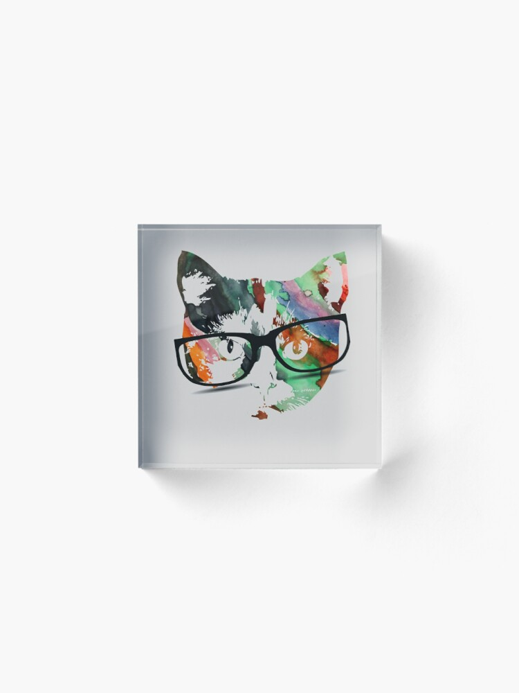 Alternate view of Hipster calico kitty cat Acrylic Block