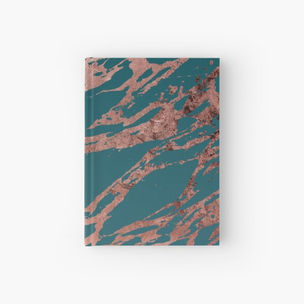Modern Rose Gold Peacock Teal Marble Hardcover Journal
