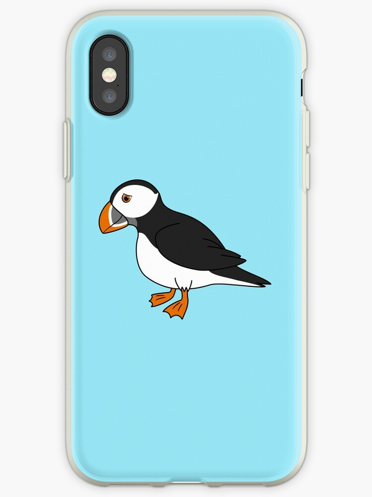 'Black & White Puffin Bird with Orange Feet' iPhone Case by Grifynne