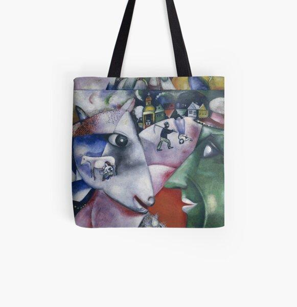 Marc Chagall - Moi et le village Tote bag doublé