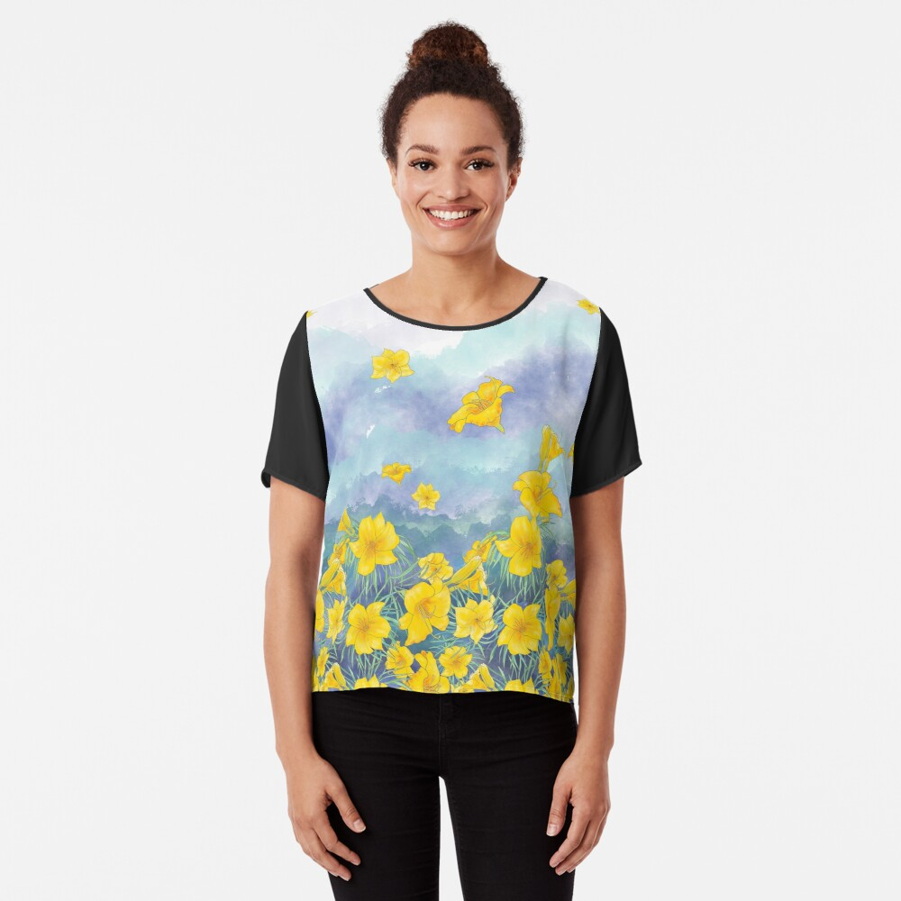 Daylily flowers over stormy sky Chiffon Top