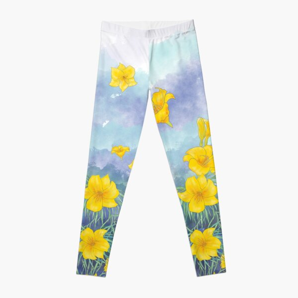 Daylily flowers over stormy sky Leggings