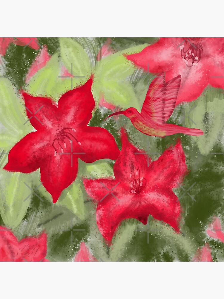Red flowers and hummingbird print  by andreeadumez