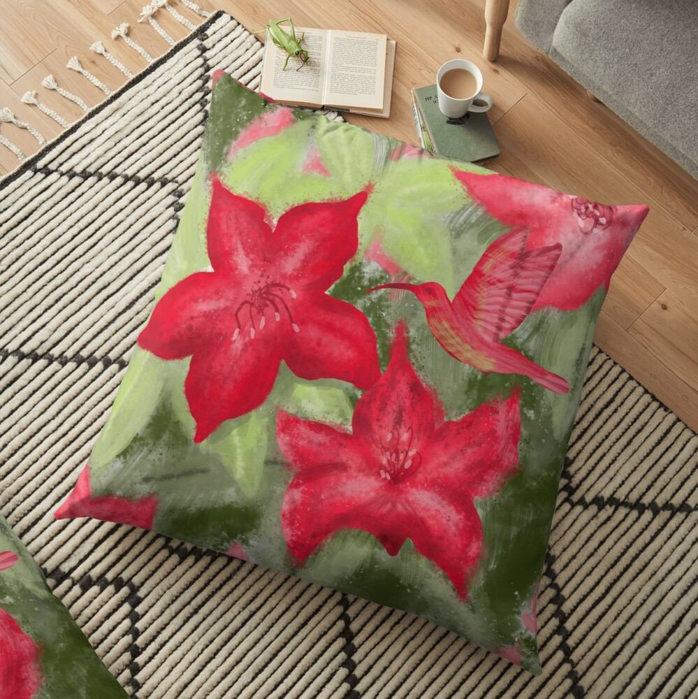 Red flowers and hummingbird print  Floor Pillow