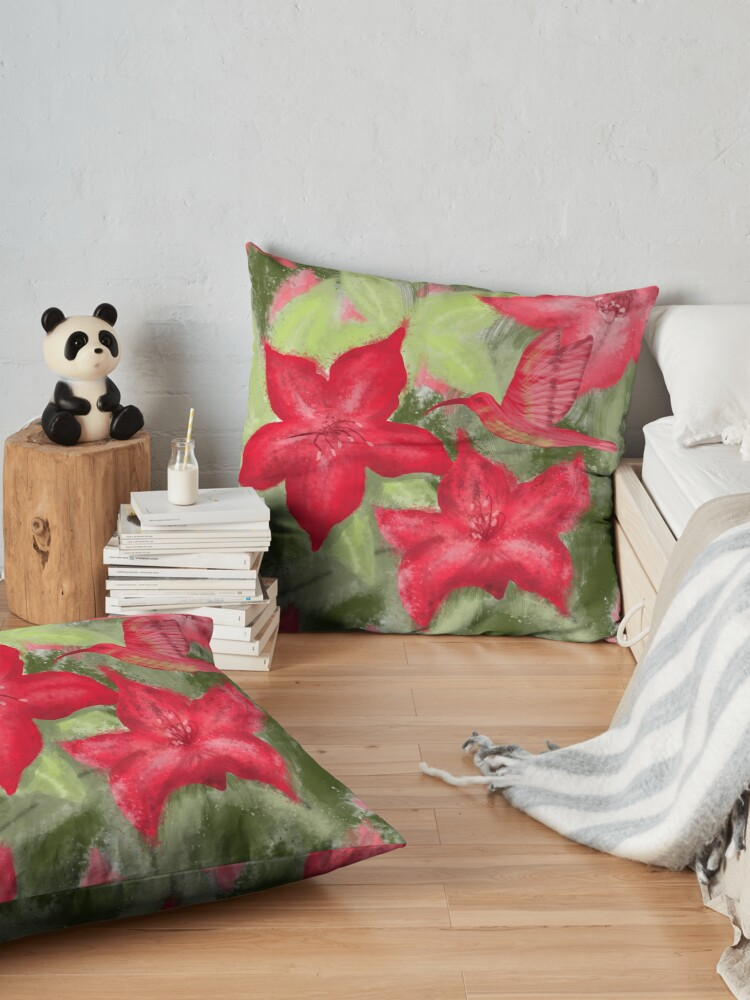 Alternate view of Red flowers and hummingbird print  Floor Pillow