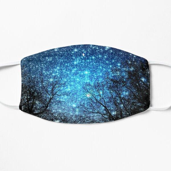 Black Trees Sparkle Blue Space Flat Mask
