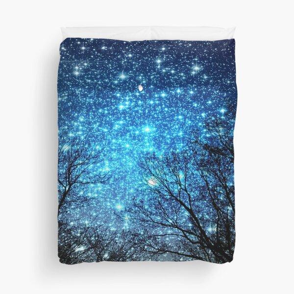Black Trees Sparkle Blue Space Duvet Cover