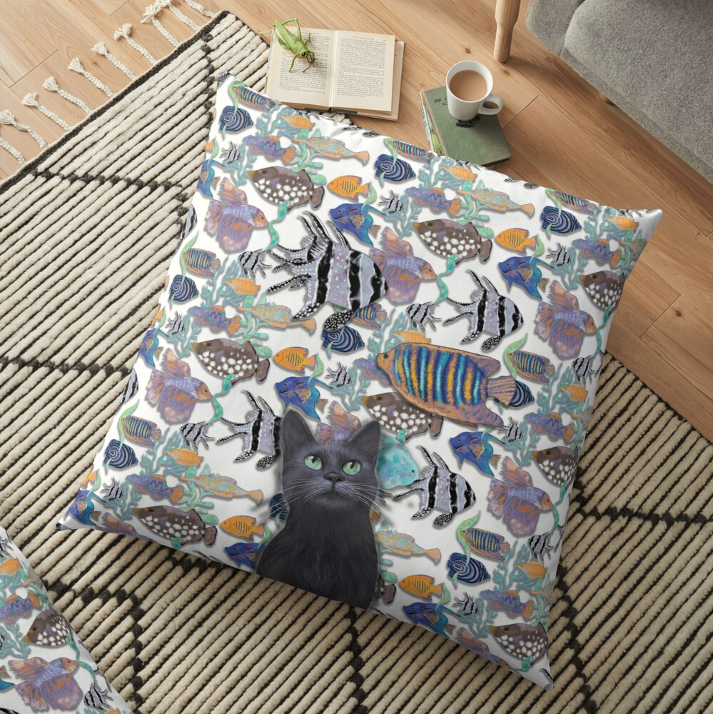 Black cat watching a fish tank Floor Pillow