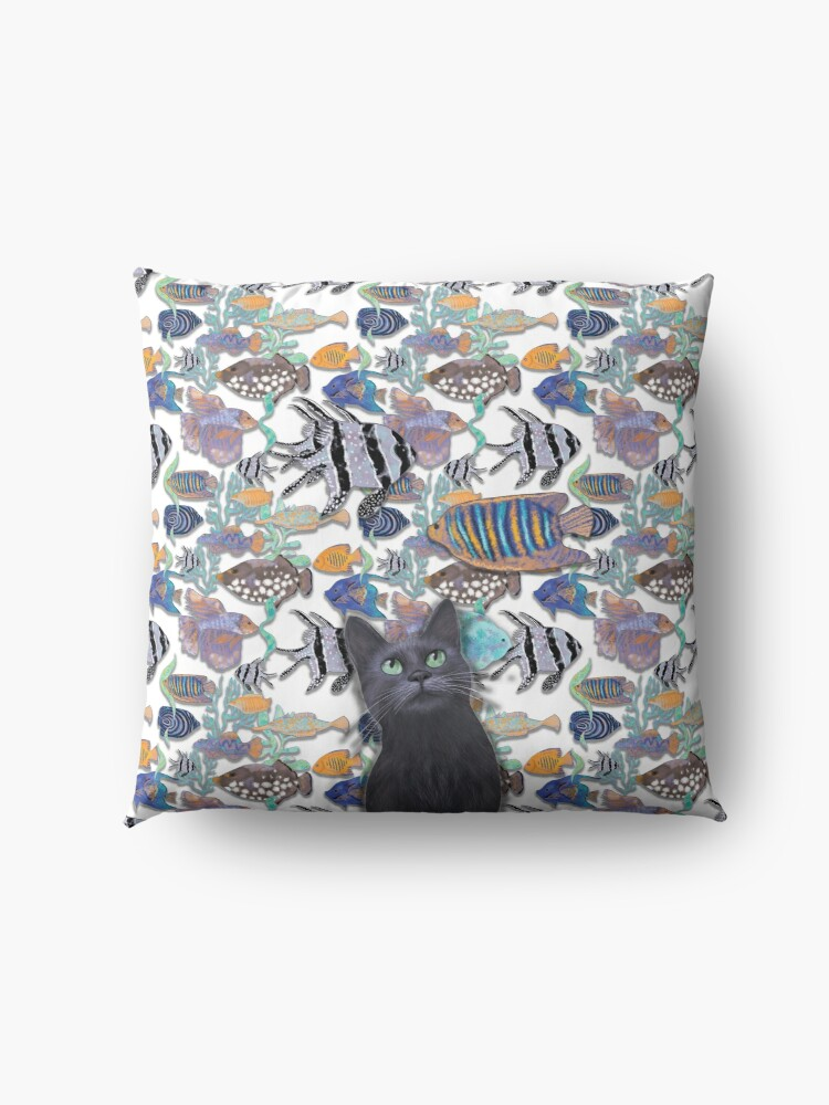 Alternate view of Black cat watching a fish tank Floor Pillow