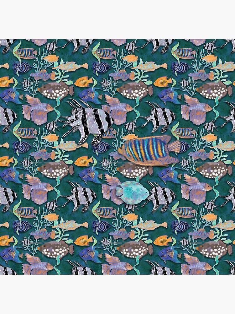Aqua green fish tank pattern by andreeadumez