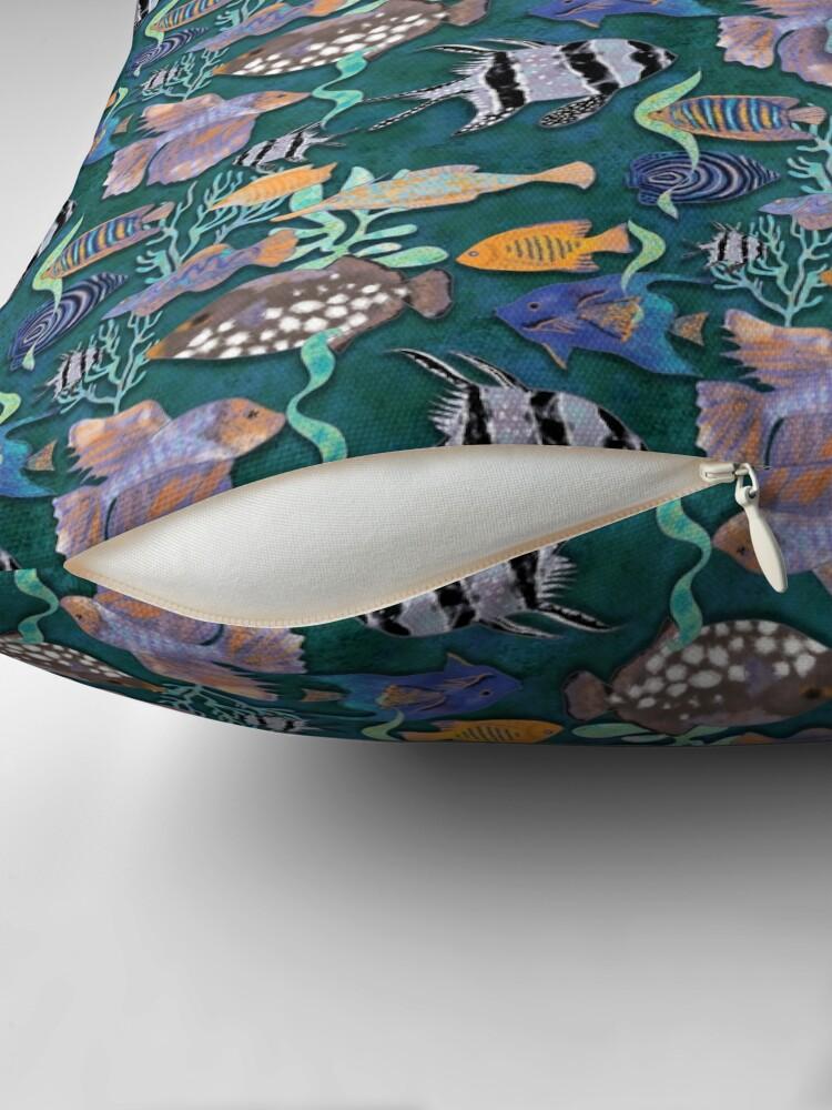 Alternate view of Aqua green fish tank pattern Floor Pillow