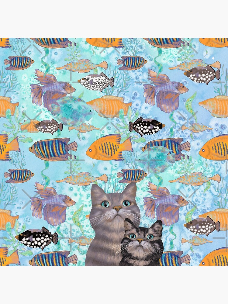 Two tabby cats and a fish tank by andreeadumez