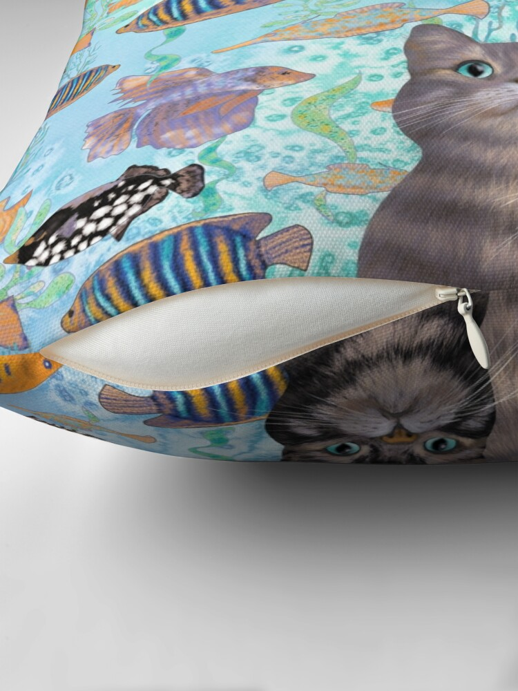 Alternate view of Two tabby cats and a fish tank Throw Pillow