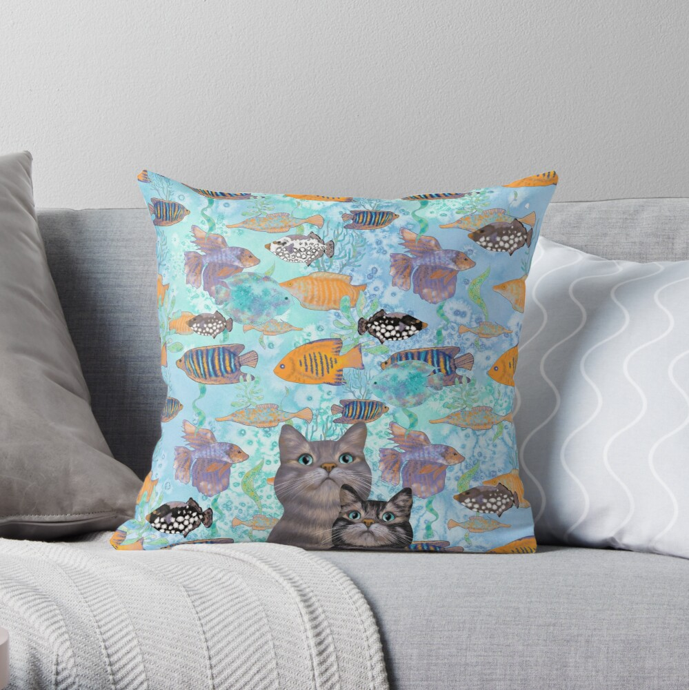 Two tabby cats and a fish tank Throw Pillow